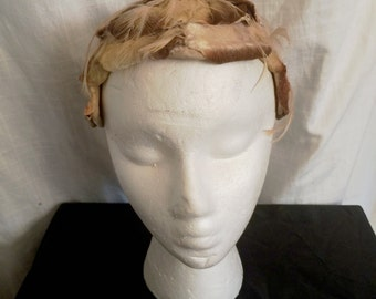 Vintage 1950s Head Hugger Hat with Velvet Petals and Feathers