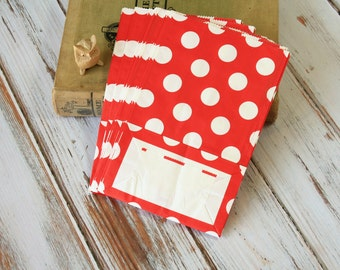 RED Polka Dot flat bottomed paper bags