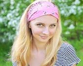 Women Headband, Strawberry Pink Headband, Dreadlock Head Scarf, Women's Bandana, Light Pink Bandana Hair Scarf (#4016) S M L X