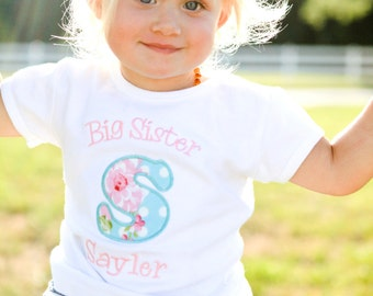 Big Sister Shirt  - Big Sis Shirt - Big Brother Shirt - Little Sister/Brother Shirt - Initial Applique