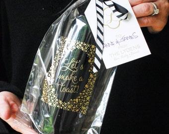 "Gold Foil-Stamped Confetti Cellophane Wine Gift Bag   ""Let's Make a Toast""   Set of 5"