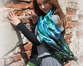 Hand painted Silk scarf - WATER - blue-green-black