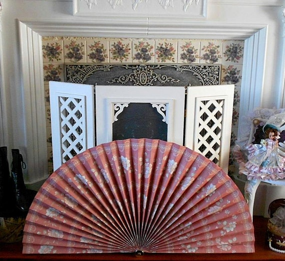 WALLPAPER FAN FIREPLACE Screen Cover Rose Pink Floral Blue