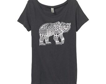 Womens Geometric Bear Shirt - Womens Pattern Bear Tshirt - Bamboo - Grey Bear Shirt - Eco Friendly Organic Cotton - Small, Medium, Large, XL