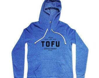 Tofu Hoodie -  Blue Hoodie - Mens Food Hoodie - Unisex Eco-Fleece Pullover Hoodie - Small, Medium, Large, XL. XXL
