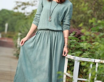 Loose Fitting Sundress Long Sleeve SunDress in Green(more colour and size choice)