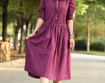 comfortable linen Long sleeve sundress(more colour and size choice)