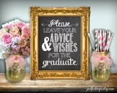 Advice And Wishes Graduation Sign Chalkboard Printable 8x10 PDF DIY Rustic Shabby Chic Woodland Graduation Party Sign Advice For Graduate