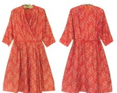 50s Dress * 1950s Dress * Vintage Red Wrap Dress * XL
