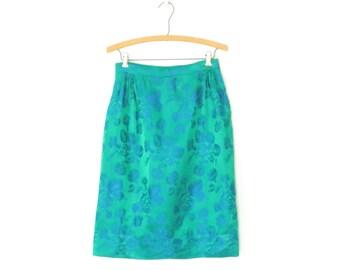 60s Pencil Skirt * Vintage 1960s Brocade Skirt * Wiggle Skirt * Small