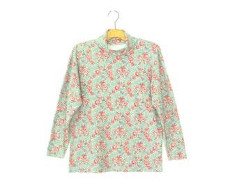Floral Turtleneck Top * Vintage 90s Shirt * Rose Turtleneck Shirt * Small