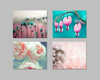 SALE, Pink Teal Wall Art, Flower Photography, Baby Girl Nursery Decor, Set of 4 Prints, Bedroom Wall Art