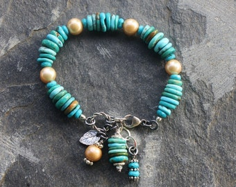 Boho Turquoise and Pearl Bracelet, Handmade Jewelry, OOAK Handcrafted Artisan Sterling Silver Bracelet