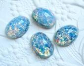 2 - Blue opal 14x10mm Czech glass Preciosa cabochons - LA136
