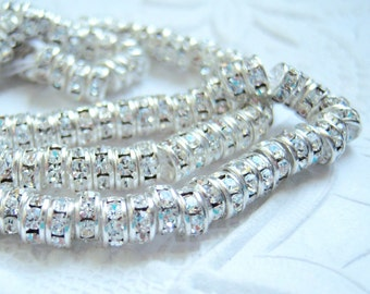 Czech crystal 5mm rhinestone rondell beads with silver plating, lot of (10) - TT80