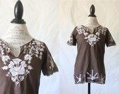 c1960's Embroidered Boho Floral Blouse S
