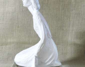 Vintage Female Portrait Sculpture, Statue, Female Figure, Figurative, White, Handmade, Woman, Feminine Art, Signed, Figure on Base