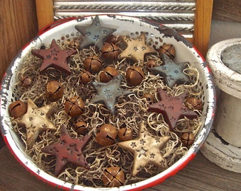 Country Primitive Grubby Stars & Rusty Bells Bowl Fillers, Rustic Patriotic Americana Polymer Clay Star Tucks Ornies Red White Blue Decor
