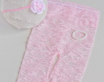 EVELYN. Pink Pants. Leggings. Newborn. Stretch Lace Fabric. Photograpy Prop. Headband. Pearl Bracelet. Tolola Design.