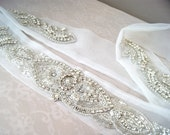 Long Organza Sash with Crystal and Pearl - JULIET DELUXE Couture Wedding Belt
