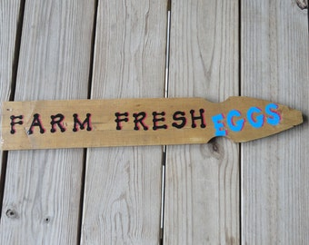 FARM FRESH EGGS Sign - Kitchen Wall Hanging - Eggs - Home Decor - Rustic Primitive Wood Sign - Chicken Eggs - Country Sign - Recycled Wood