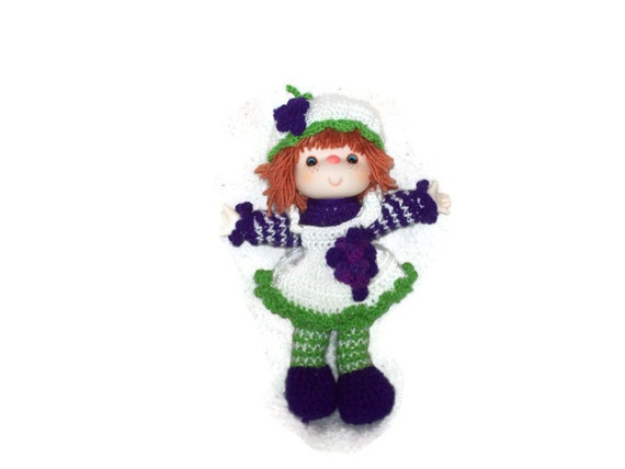 Grape Jelly Yarn Doll  Made  With Vintage Head & Hands