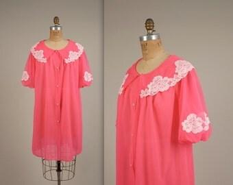 1960s neon chiffon robe • vintage 60s house coat • lace nightie
