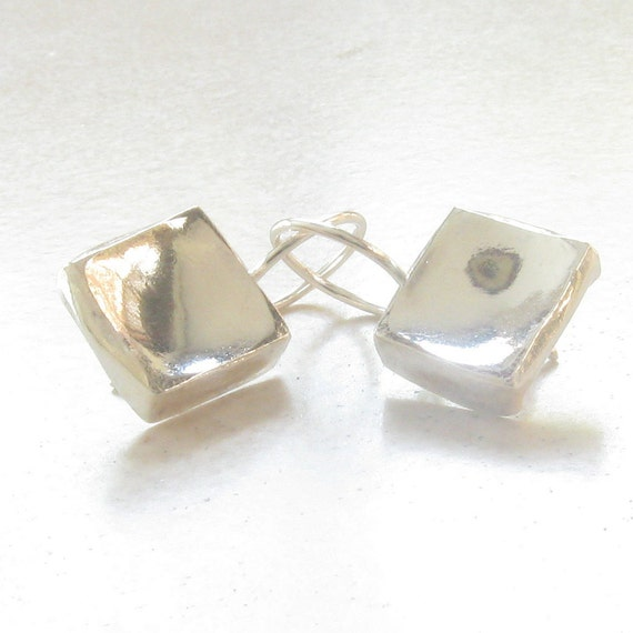 Hammered Silver Earrings - Abstract Square