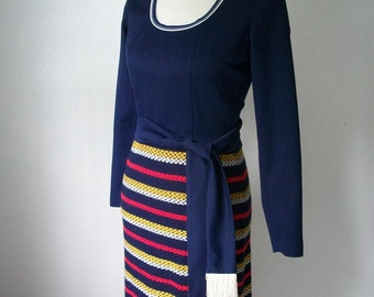 70s Navy Knit Maxi dress with Fringed Belt