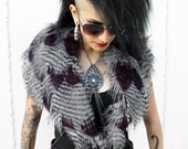 FAUX FEATHER FUR shoulder wrap with beaded velvet ties