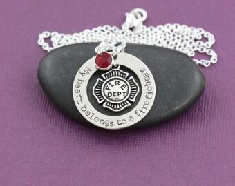 SALE - Firefighter Necklace - Firefighter -Fireman Gift -Firefighter Wife -Personalized -Firefighter Mom -My Heart Belongs To -Romantic Gift