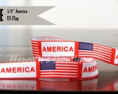 """5/8"""" FOE : US Flag AMERICa Printed July 4th Patriotic Patterned Fold Over Elastic Stretch Band 2, 5, 10 Yards. DIY Headband Supplies"""
