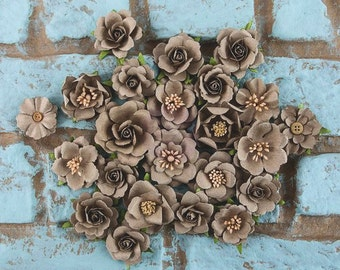 NEW: Prima Rodanthe - Sandbank 577742  Mulberry Rose Bud Paper Flowers (Neutral) embellishments Wedding decoration