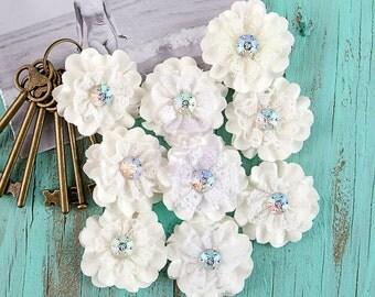 Prima Sarasota Peaceful - 9pcs Off White 577957 Lace Rhinestone Paper Fabric Flowers Applique. DIY Hair Supplies. Floral Embellishment.