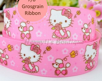 "4 yards: Hello Kitty Pink bow and dress Character Cartoon Logo Brand Inspired Pink Grosgrain Ribbon 7/8"" inch wide. Gift Wrap. DIY Supplies."