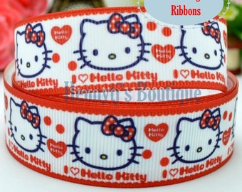 """4 yards: Hello Kitty Red Bow Character Logo Brand Inspired White Red Heart Grosgrain Ribbon 7/8"""" inch wide. Gift Wrap. DIY Supplies"""