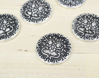 4 Antique Silver Cabochons Round Filigree Cabochon 30mm [CAB7244]