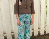 60s Blue Floral Pants Vintage Summer S Petite 27 Inseam 27 Waist