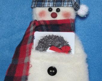 "Snowman pattern:  ""Snowman Gift Card Holder"" - #656"