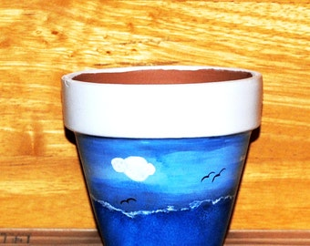 Seascape Flower Pot Ocean Waves Seagulls and Clouds Hand Painted on 4.5 Inch Terra Cotta Red Clay Pot Made to Order
