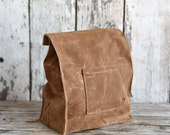 Marlowe Lunch Bag in Spice, Waxed Canvas Lunch Tote, Waxed Canvas Lunch Bag, Eco-friendly, Waxed Canvas Bag, Waxed Canvas Lunch Bag, For Him