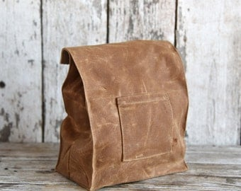 Marlowe Lunch Bag in Spice, Waxed Canvas Lunch Tote, Wax Canvas Lunch Bag, Eco-friendly, Reuse Lunch Bag, Waxed Canvas Lunch Bag, For Him