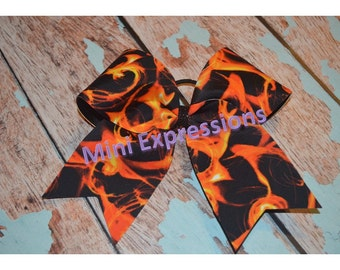 """3""""  Flames Cheer Bow"""