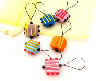 Knitting Stitch Markers - Set of 6 Handmade Bead Knitting Markers to Fit Up to US 15 Needles - Quirky