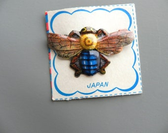 Vintage Brooch 50s Bee Tin Pin Dead Stock - on sale