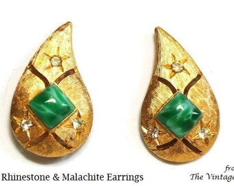 60s Rhinestone & Malachite Gold Clip Earrings in Pave Set Crystal Diamond Cut Design - Vintage 60's Costume Jewelry