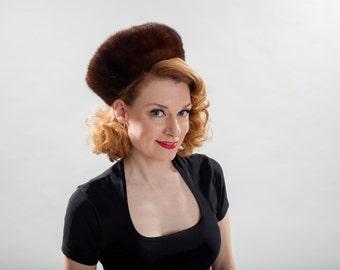Vintage Mahogany Mink Fur Hat - Sally Victor - 1950s Winter Fashions
