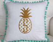 Monogrammed Pineapple Pom Pom Pillow