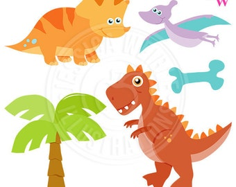 Dinosaur Rawr Cute Clipart, Dinosaur Clipart, Dinosaur Graphics, Dinosaur Clip Art, Scrapbooking Images, T-Rex, Prehistoric, Dino Bone