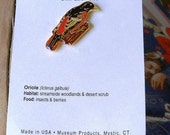 24kt Gold Plated Pin, Oriole Bird Lapel Hat Pin, Vintage Pewter Lapel Hat Pin Museum Product
